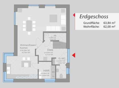 Grundriss »Architektenhaus« Erdgeschoss