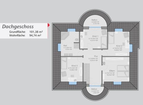 Grundriss »Stadtvilla« Dachgeschoss
