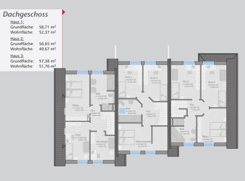 Grundriss »Sonnenseite« Dachgeschoss