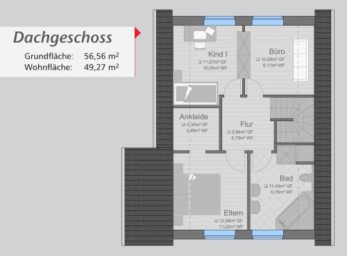 Grundriss »Architektenhaus« Dachgeschoss